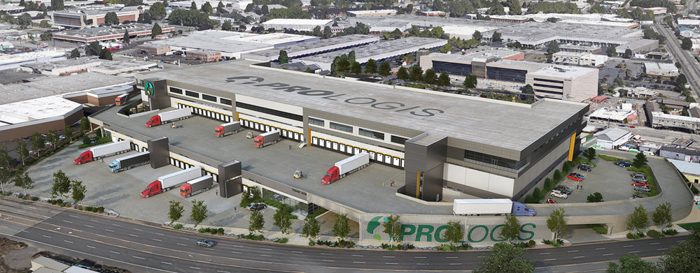 Prologis Georgetown Crossroads, now under construction in Seattle, will be the first modern three-story industrial warehouse in the U.S. It will feature truck ramps leading to loading docks on the second level and a third floor, served via forklift-accessible freight elevators, for lighter-scale operations.  Rendering courtesy of Prologis
