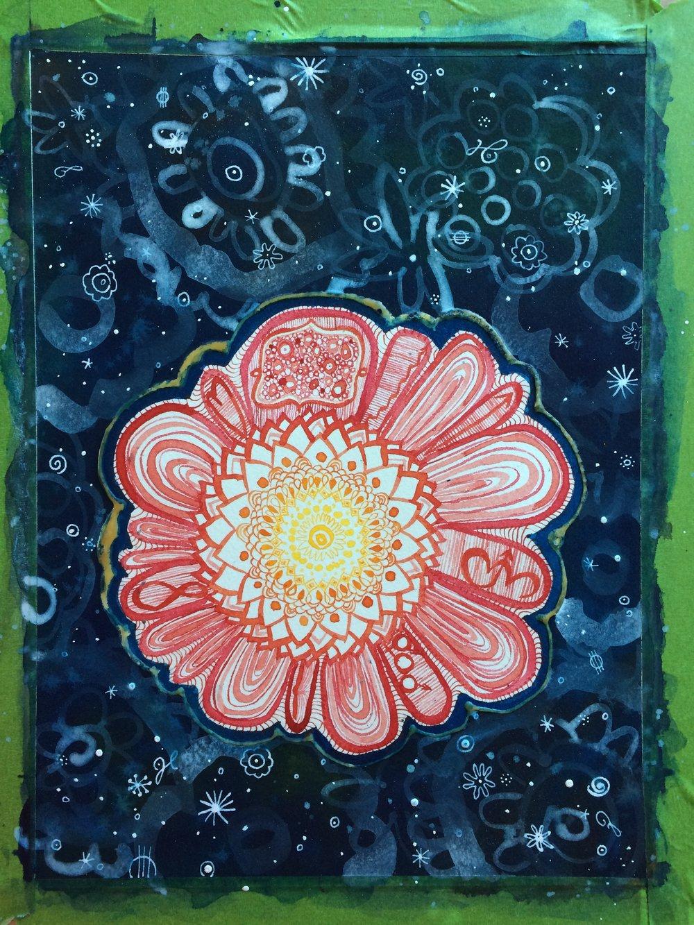 petals with symbols of key moments