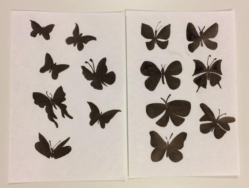 ink brush butterflies
