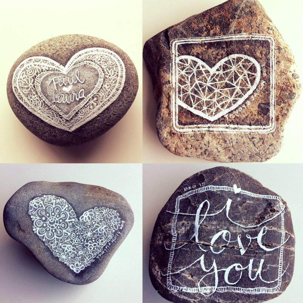 acrylic ink on rocks