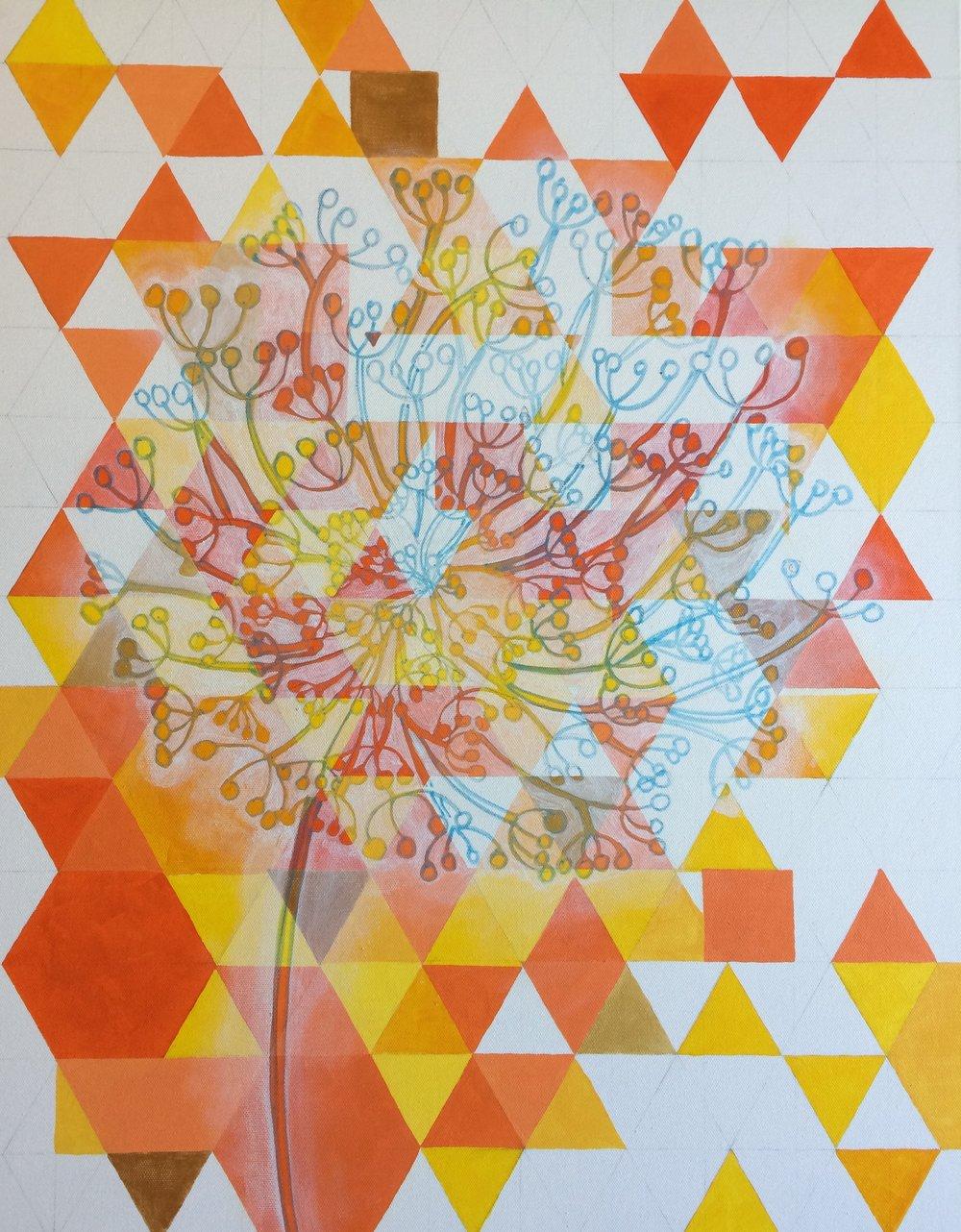 white painted around dandelion