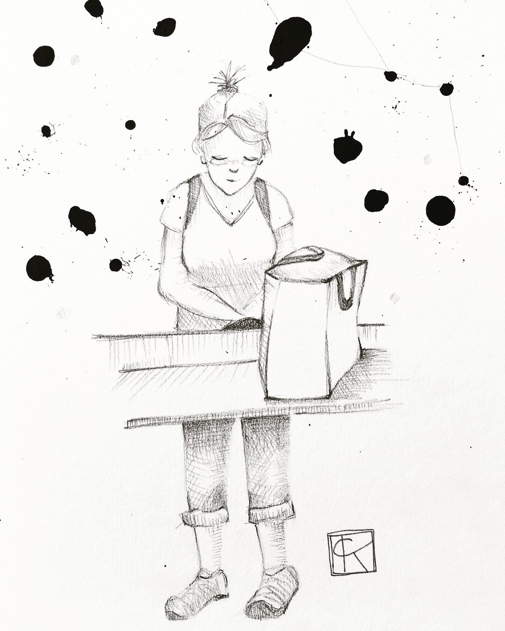 7x10in pencil and ink on paper, an illustration of a late visit to the laundromat