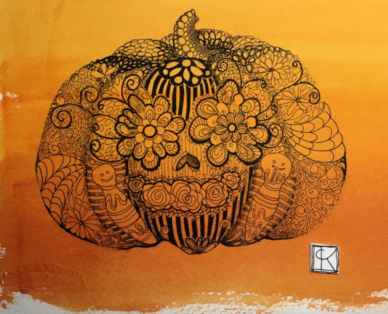 7x5.5in Line Pumpkin drawing, ink and watercolor on paper