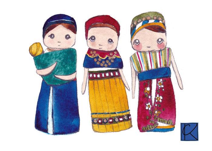 watercolored dolls