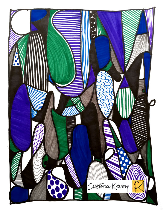 8.5x11 marker on paper, elementary school lesson about abstract art, texture, and color