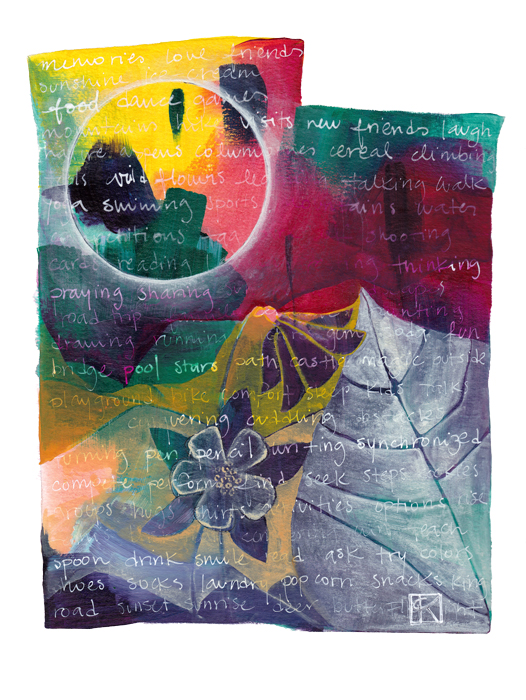 Utah memory collage, acrylic on paper