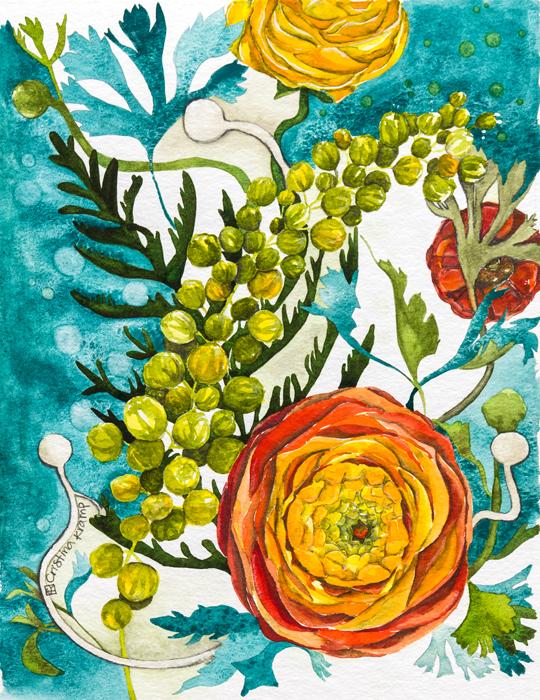 Ranunculus & life, watercolor on paper