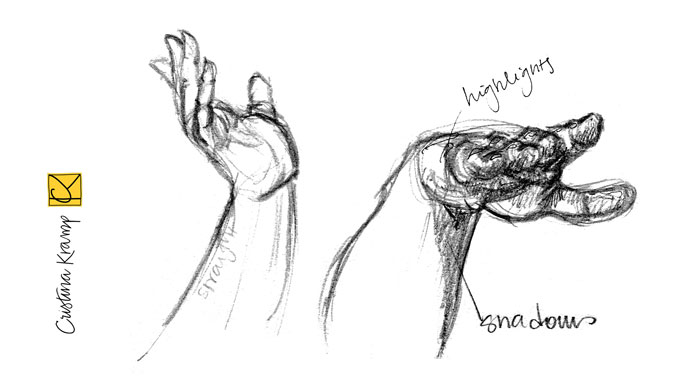 pencil and ink hand studies