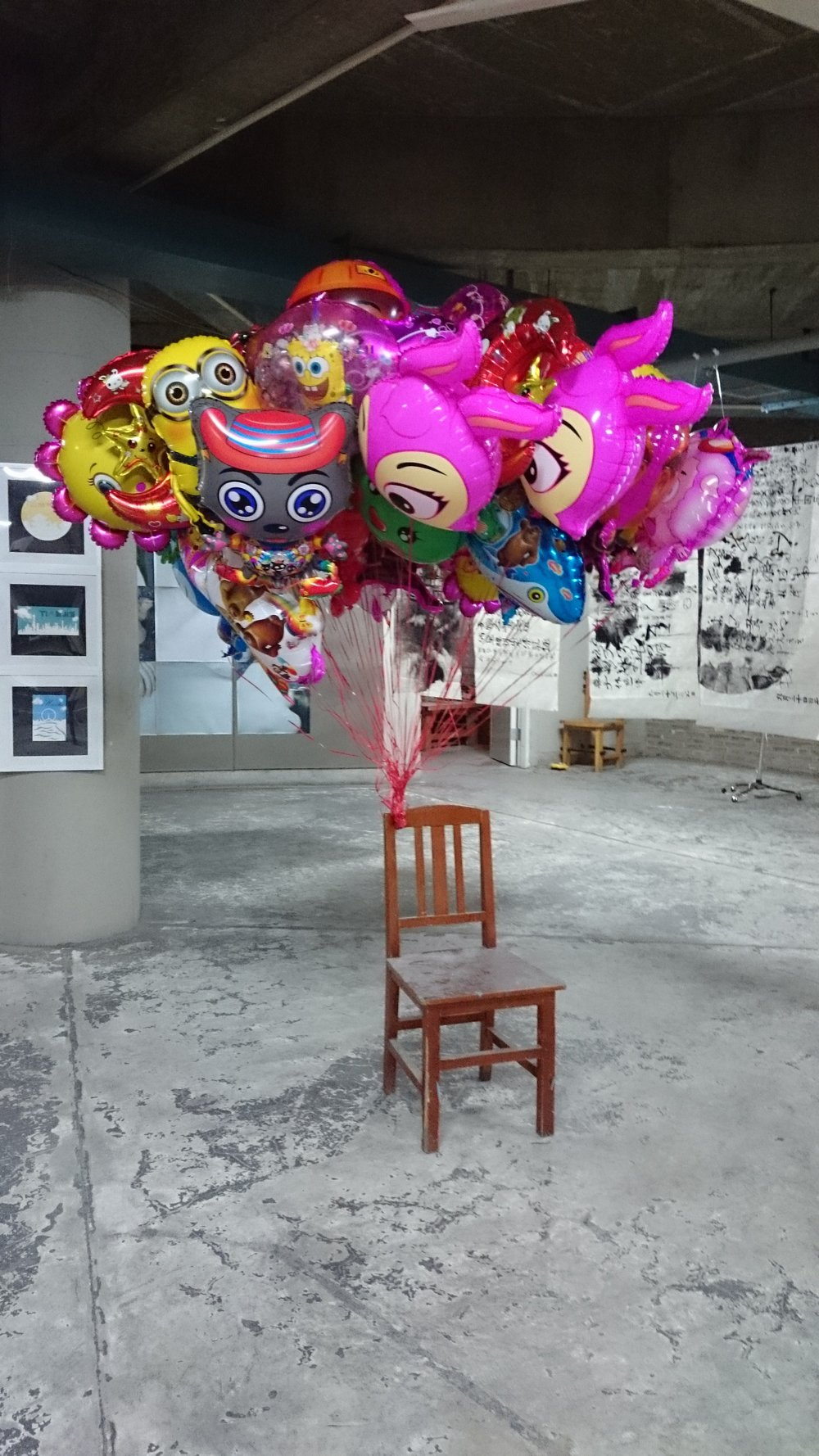Collaboration with Nerida Bourne, 2014, Variable Dimensions, Balloons and Chair, Exhibited at TAFA Gallery in China