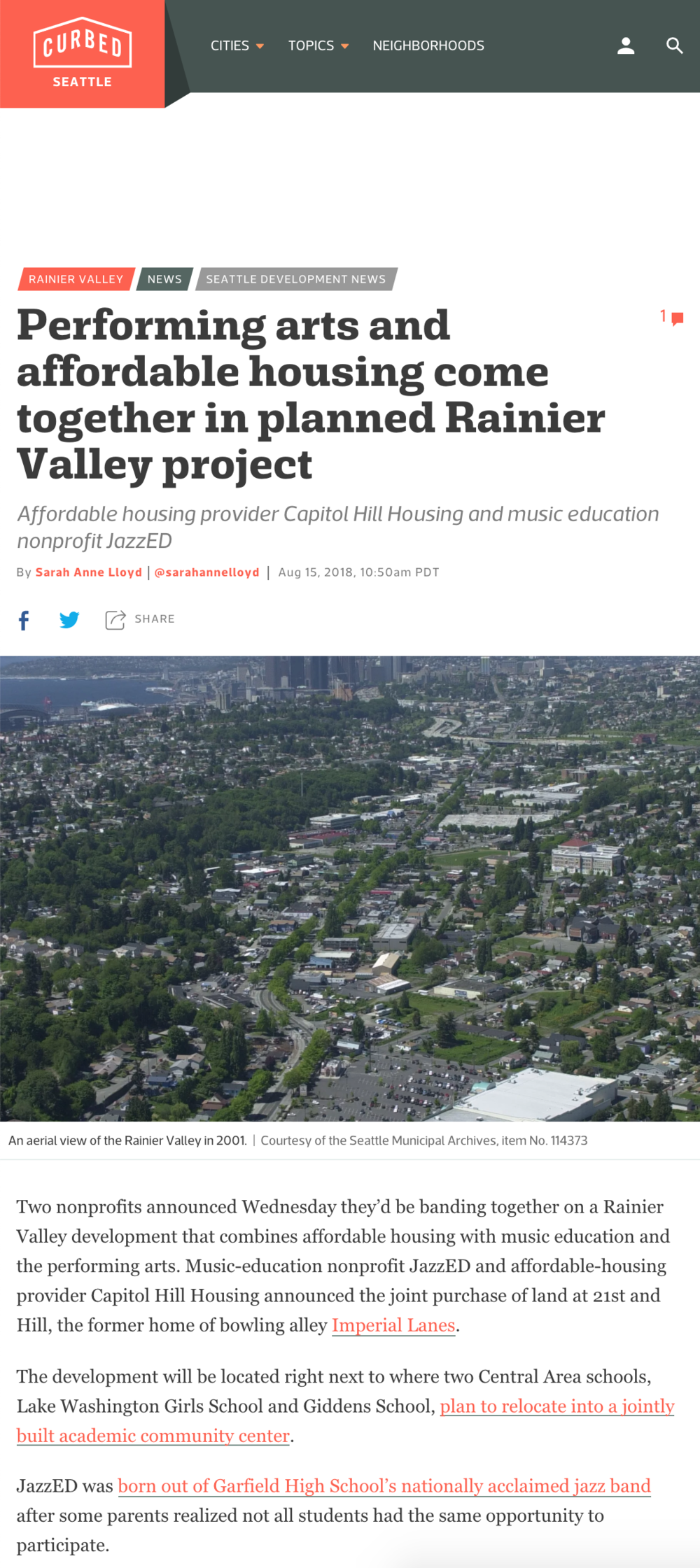Performing arts and affordable housing come together in planned Rainier Valley projectAffordable housing provider Capitol Hill Housing and music education nonprofit JazzED - By Sarah Anne Lloyd / August 15, 2018 / Curbed Seattle
