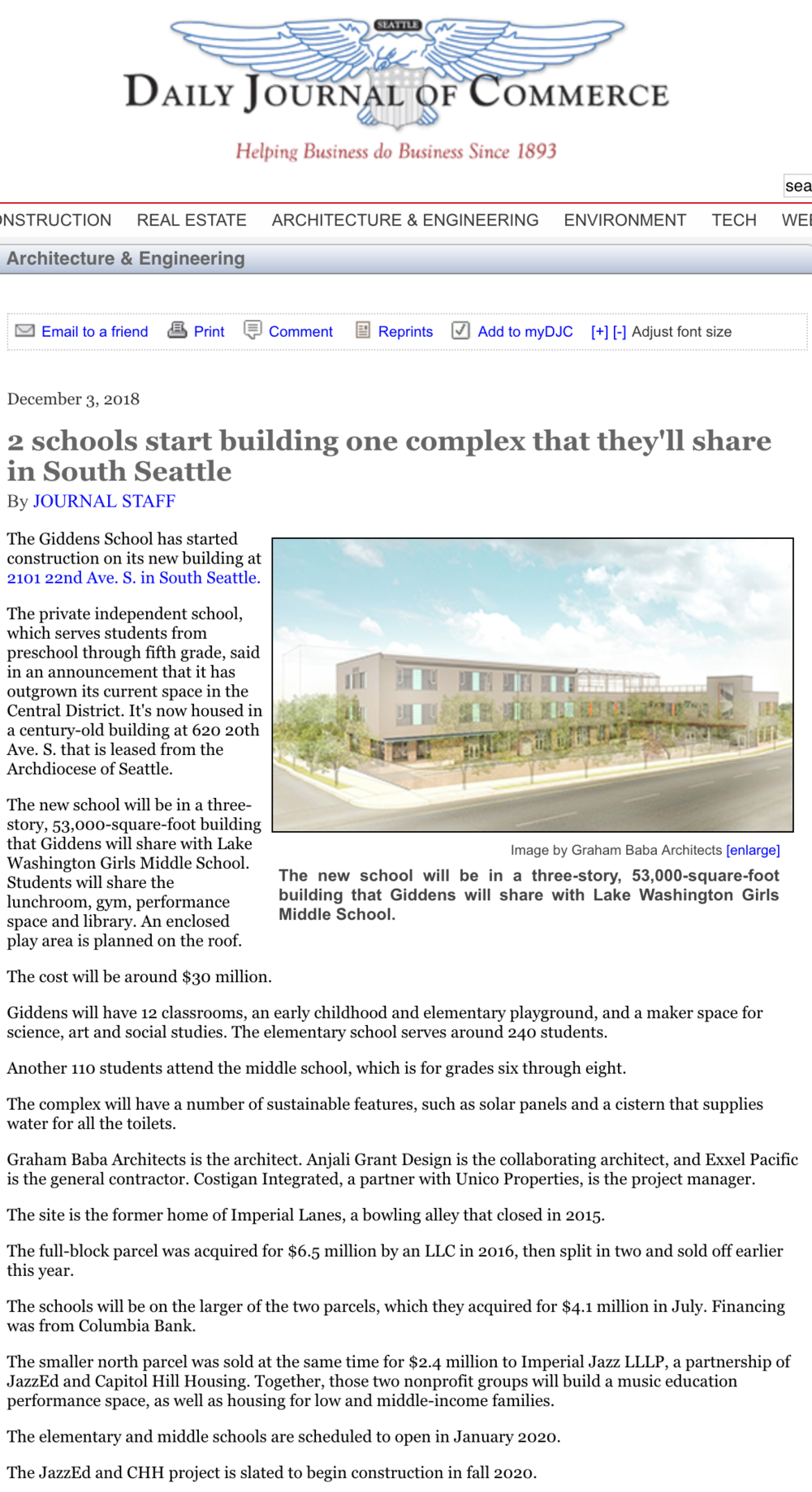 2 schools start building one complex that they'll share in South Seattle - By Journal Staff / December 3, 2018 / Daily Journal of Commerce
