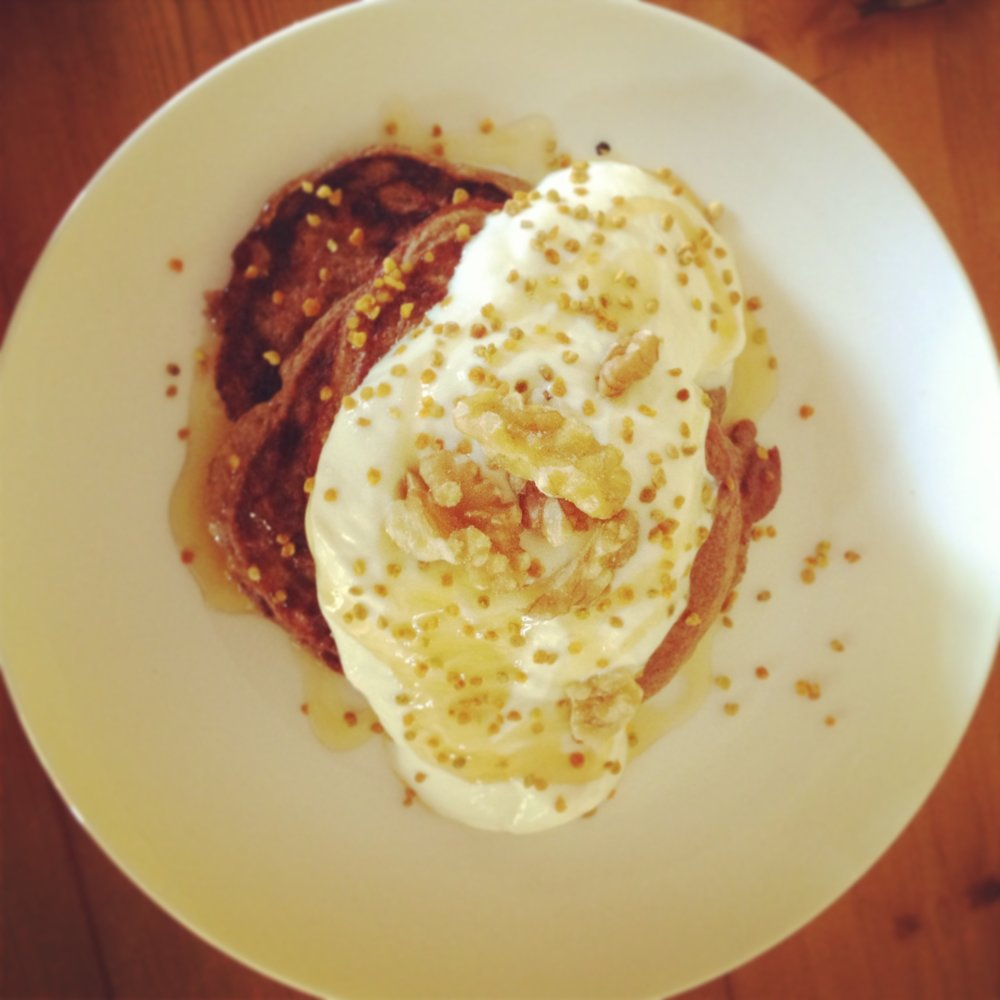 Banana pikelets from FF&K, with greek yogurt, honey and bee pollen.