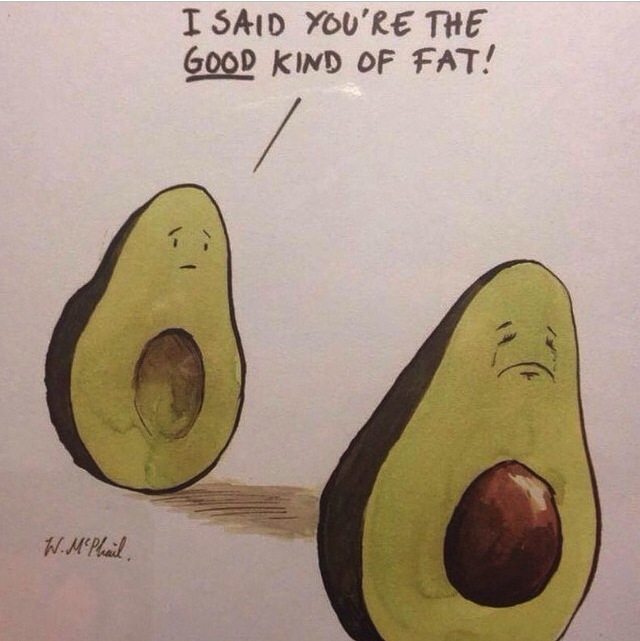 There IS a difference between fats! Avocado = very good fat.