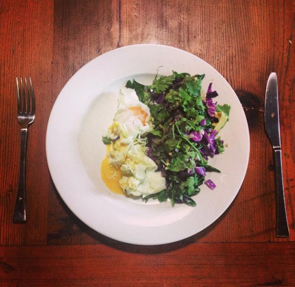 Greens + eggs + purple cabbage