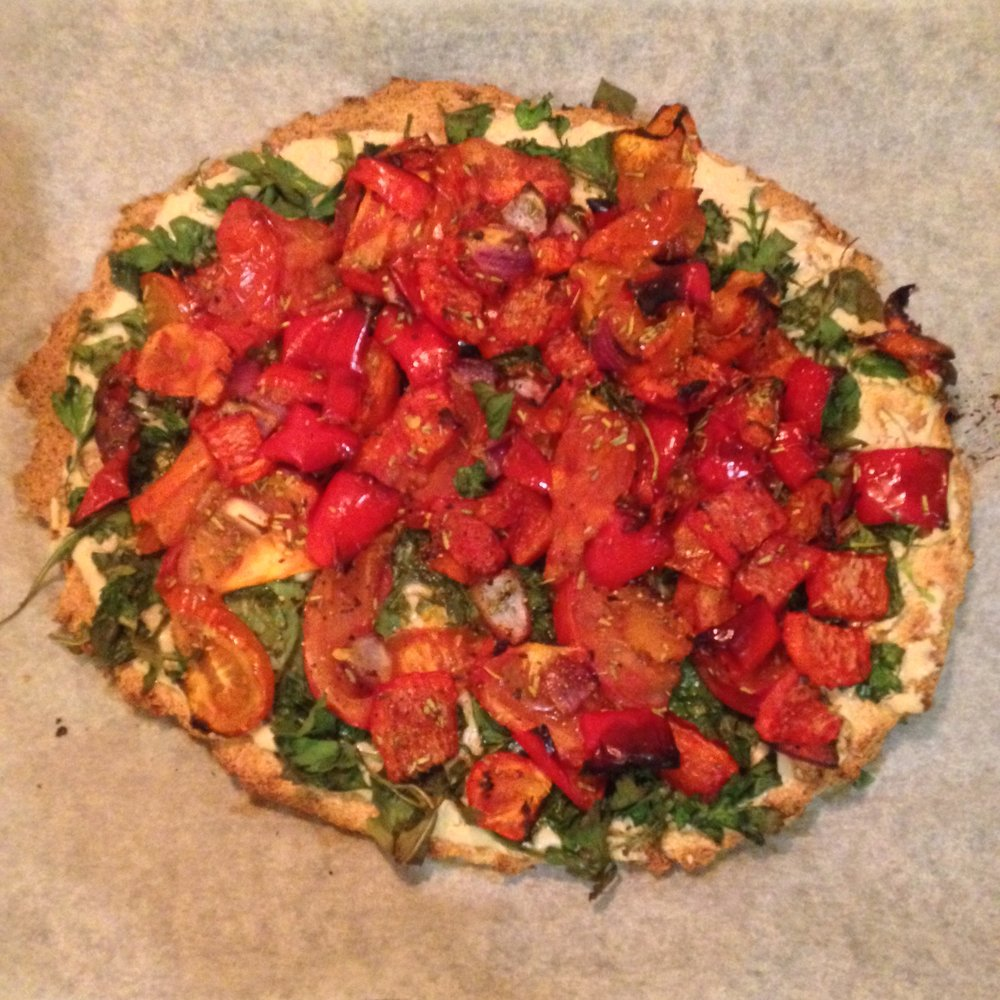 A not so photogenic, but utterly delicious, cauliflower pizza