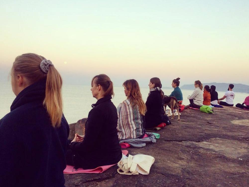 Morning rock meditation