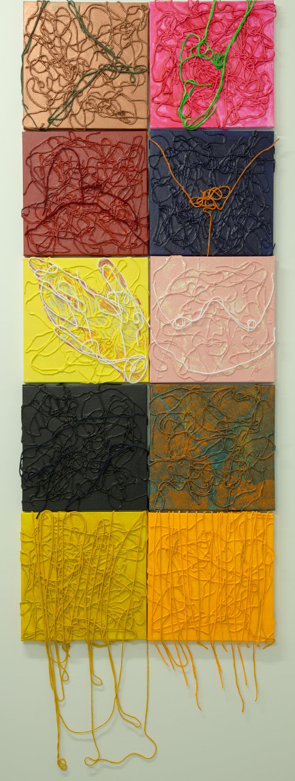 """Yarn, Acrylics on Canvas.  2016.  8"""" x 8"""" each"""