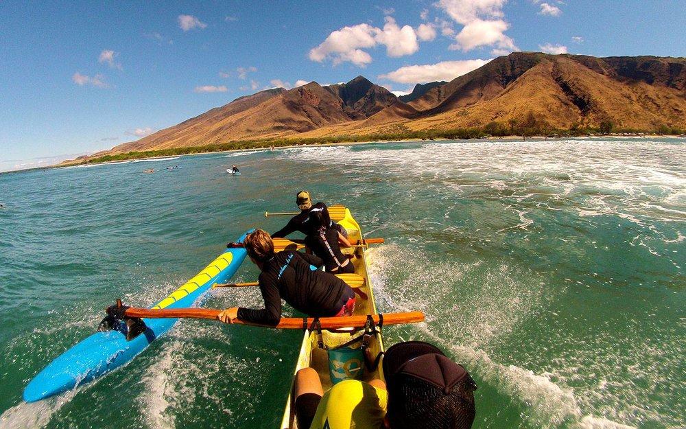 Canoe Surfing on Maui