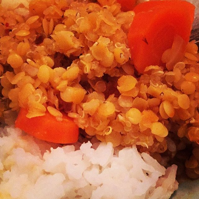 Only a bit of onion and 3 carrots left in the fridge: threw them in a pot with some red lentils and quinoa and lots of spices like paprika, chili, oregano, a tiny bit of Chinese curry. Then cooked white rice in coconut milk adding a tiny bit of salt. Comfort level 10 out of 10 . . . #whatveganseat #comfortfood #comfortfoodie #comfortfirst #veganrecipes #veganfitness #veganfood #glutenfreevegan #glutenfreivegan #lentils #quinoa #coconutrice #carrots #nothinginthefridge #leftovers #spiritfood #gutenappetit