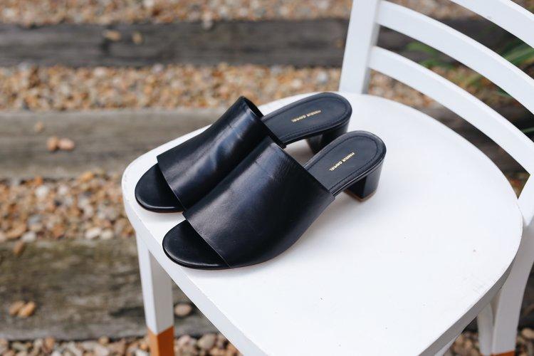 Mansur Gavriel black leather mules ... e9153841ac4a9