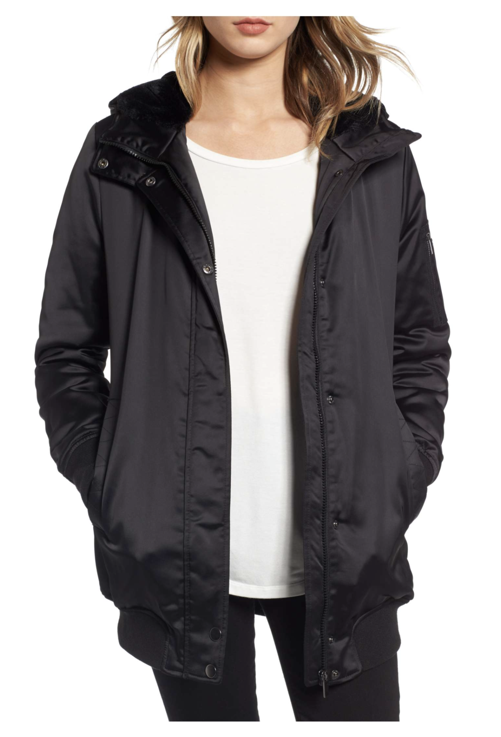"MARALYN & ME ""Longline Hooded Bomber Jacket"""