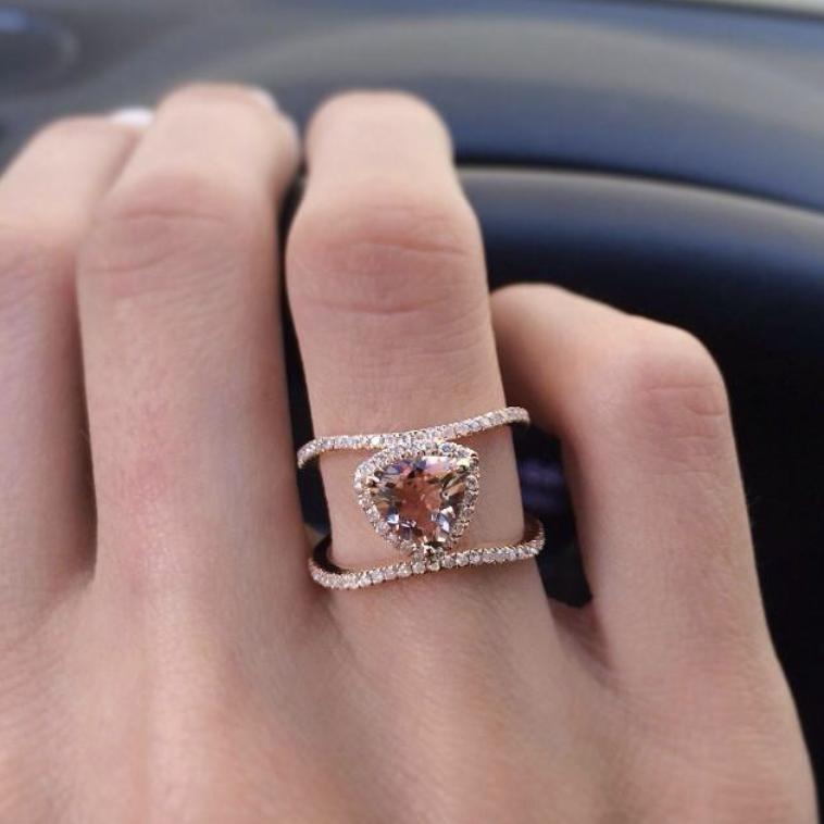 LUNA SKYE - 14KT GOLD/DIAMOND DOUBLE BAND CHAMPAGNE GARNET TRILLION RING