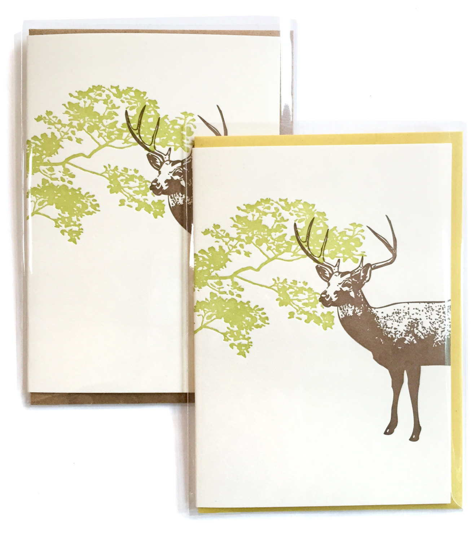 Box Of 6 Deer Cards Letterpress Stag Card Letterpress Card Blank
