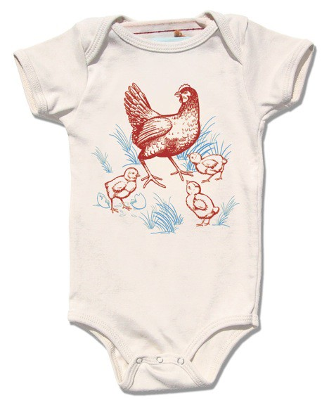 Organic Baby Clothes Baby Chicken Onesie Screen Printed Baby One