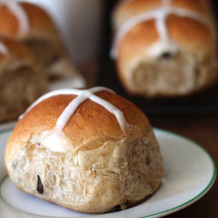 Hot Cross Buns -  it wouldn't feel like Easter without some warm and squishy hot cross buns! Check out this awesome recipe from  Delightful Adventures.
