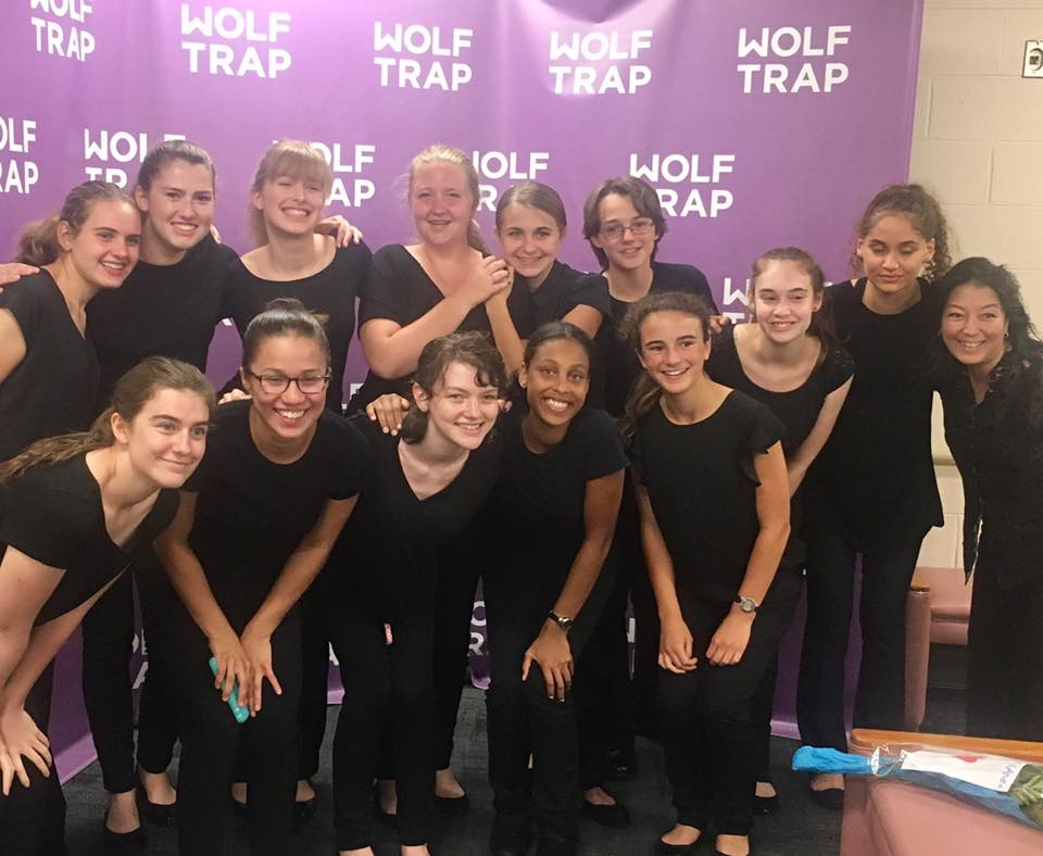 Choristers pose with CCW Artistic Director Margaret Nomura Clark following the one-night-only performance of TOSCA at Wolf Trap's Filene Center