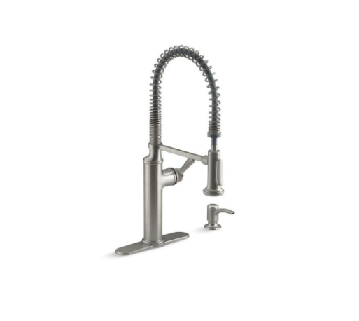 Industrial Stainless Steel Farmhouse Kitchen Sink Faucet | Demure Fashion Blog