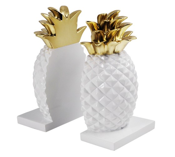 Gold & White Pineapple Bookends | Demure Fashion Blog