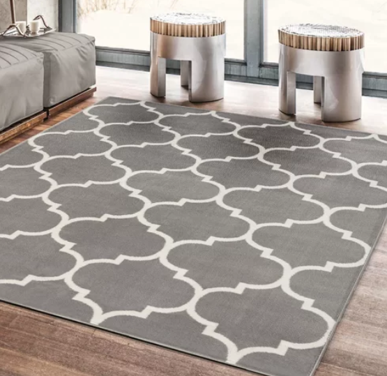Gray Geometric-Print Rug | Demure Fashion Blog