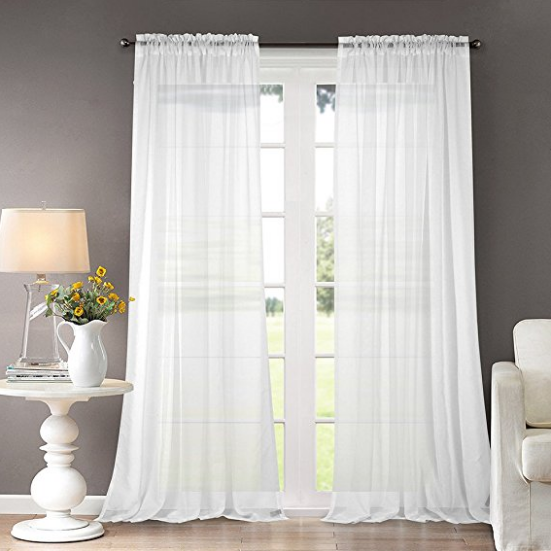"Shear White 95"" Curtains 