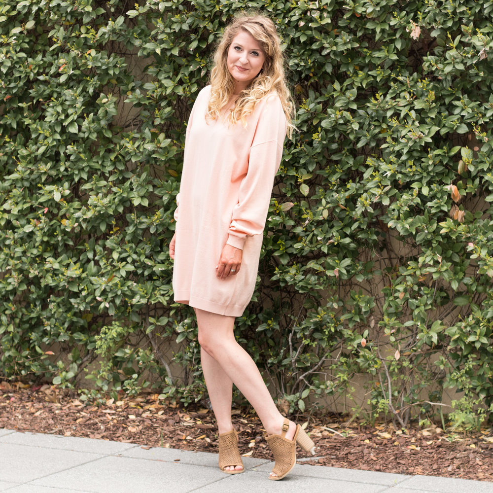 Peach Long Sleeve Dress | Demure Fashion Blog