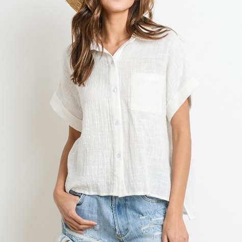 White Linen Button-down | Demure Fashion Blog