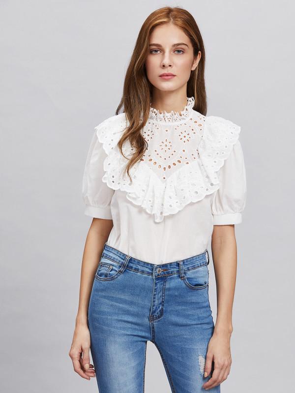 SheIn White Eyelet Ruffle-collar Top | Demure Fashion Blog
