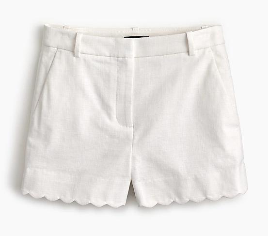 J Crew White Scallop-hemmed Shorts | Demure Fashion Blog