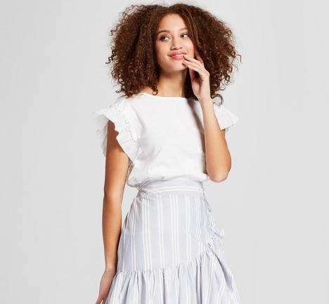 Target White Ruffle Sleeve T-shirt | Demure Fashion Blog