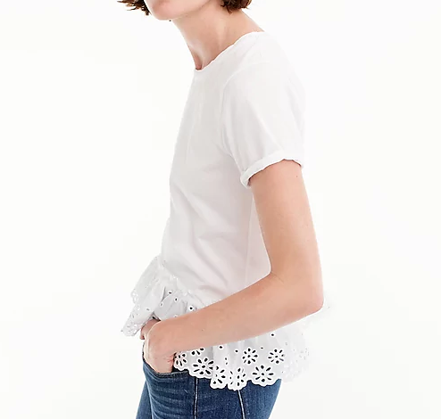 J Crew White Eyelet Peplum Shirt | Demure Fashion Blog