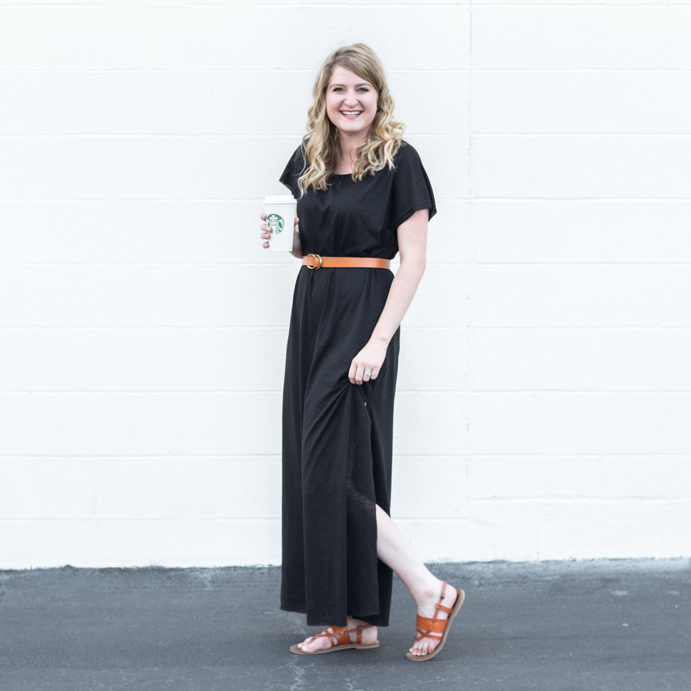 SheIn Black Slit Side Maxi Dress | Demure Fashion Blog