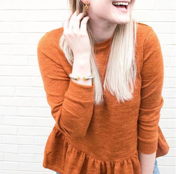 Burnt Orange Peplum Top | Demure Fashion Blog