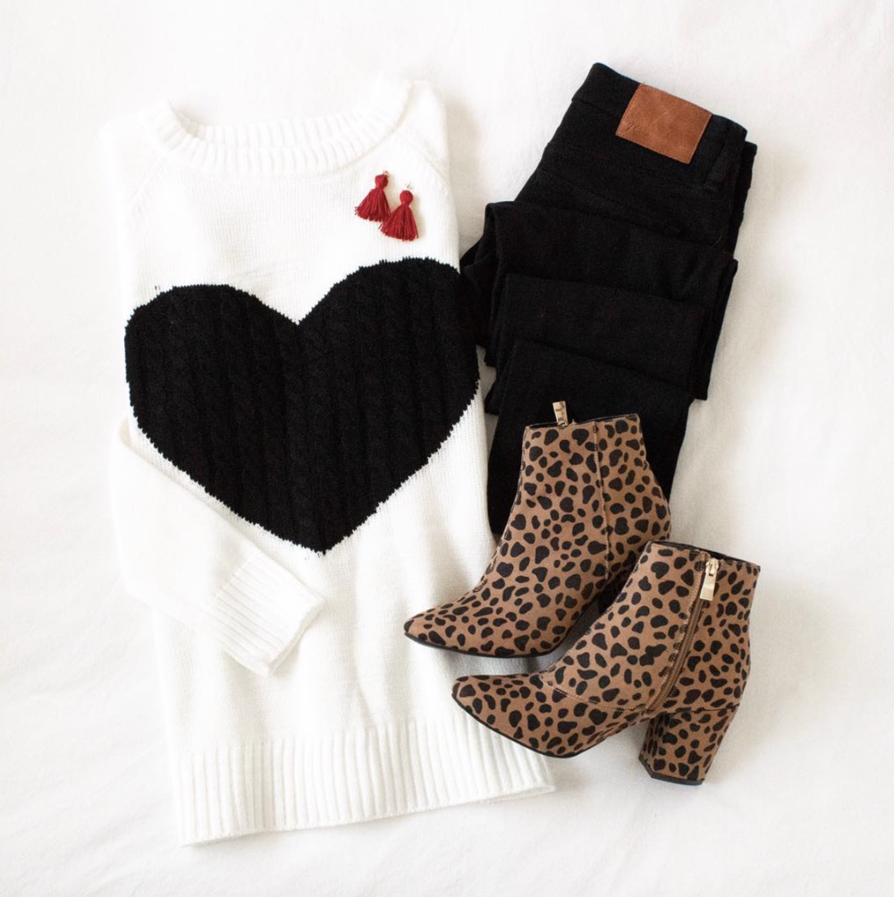Black and White Heart Sweater | A Demure Life
