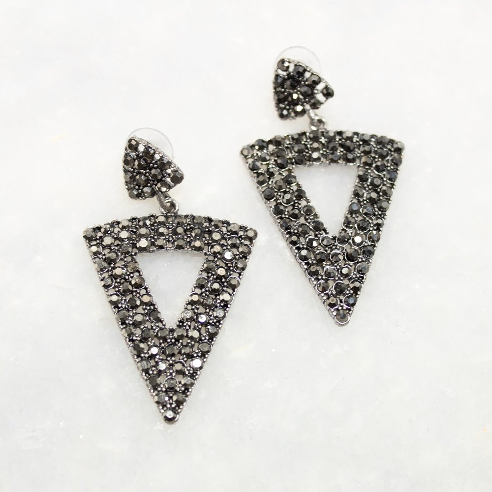 Black Diamond Statement Earrings   A Demure Life