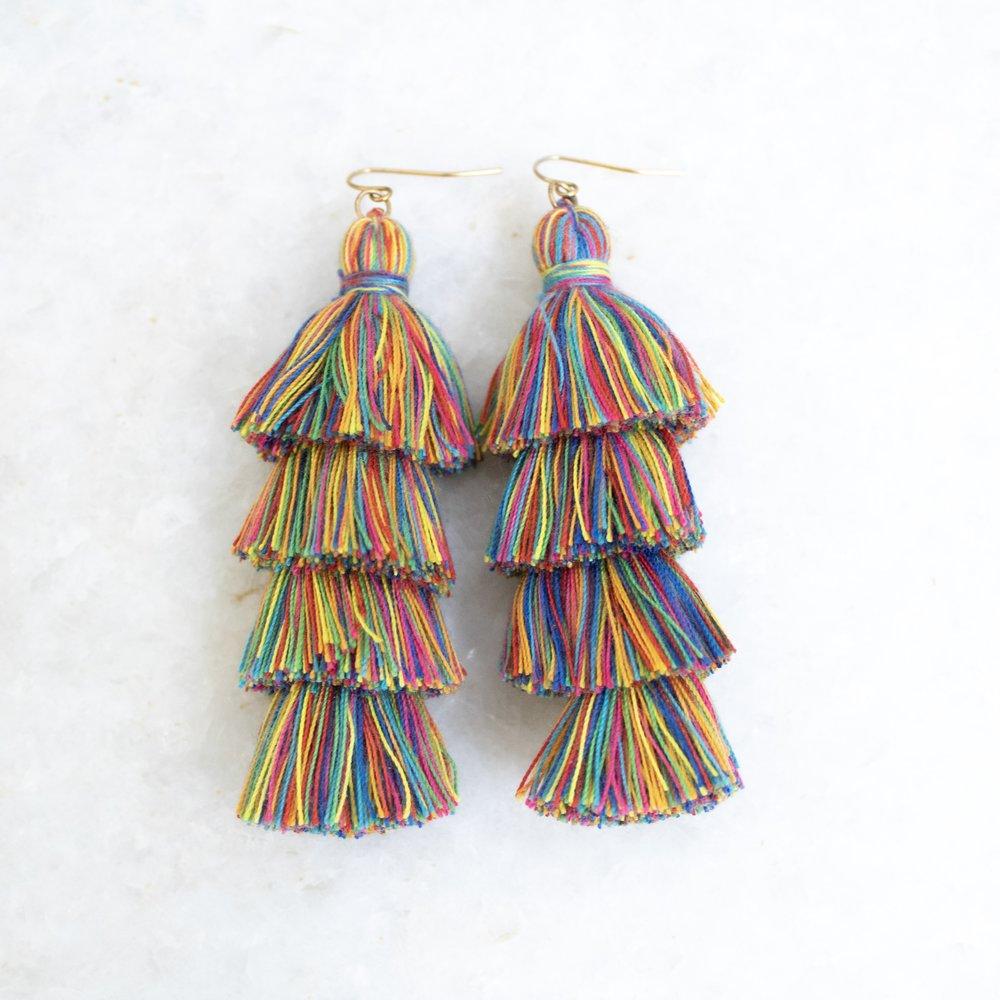 Rainbow Tassel Earrings   A Demure Life