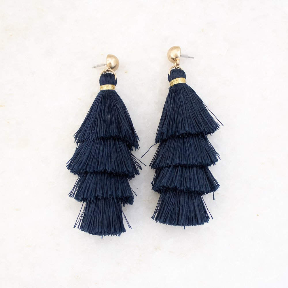 Navy and Gold Tassel Earrings   A Demure Life