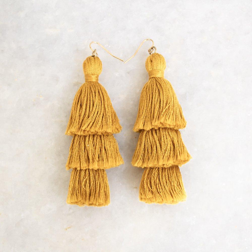 Mustard Tassel Earrings   A Demure Life