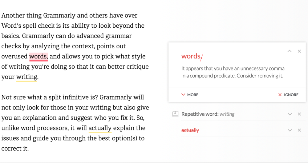 Here is an example of me having to use my knowledge of English and style. Grammarly wanted me to delete the third comma (aka Oxford or Serial Comma). I knew that was not correct based on the style guide I used, but when I looked at the context, I realized that Grammarly pointed it out because I hadn't written the sentence correctly. I was then able to make the change that I had not caught on my own.