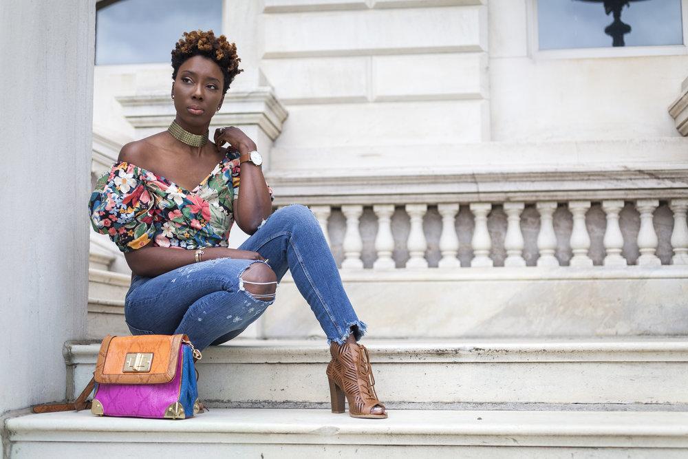 zara-floral-off-the-shoulder-top-jeans-dsw-shoes1