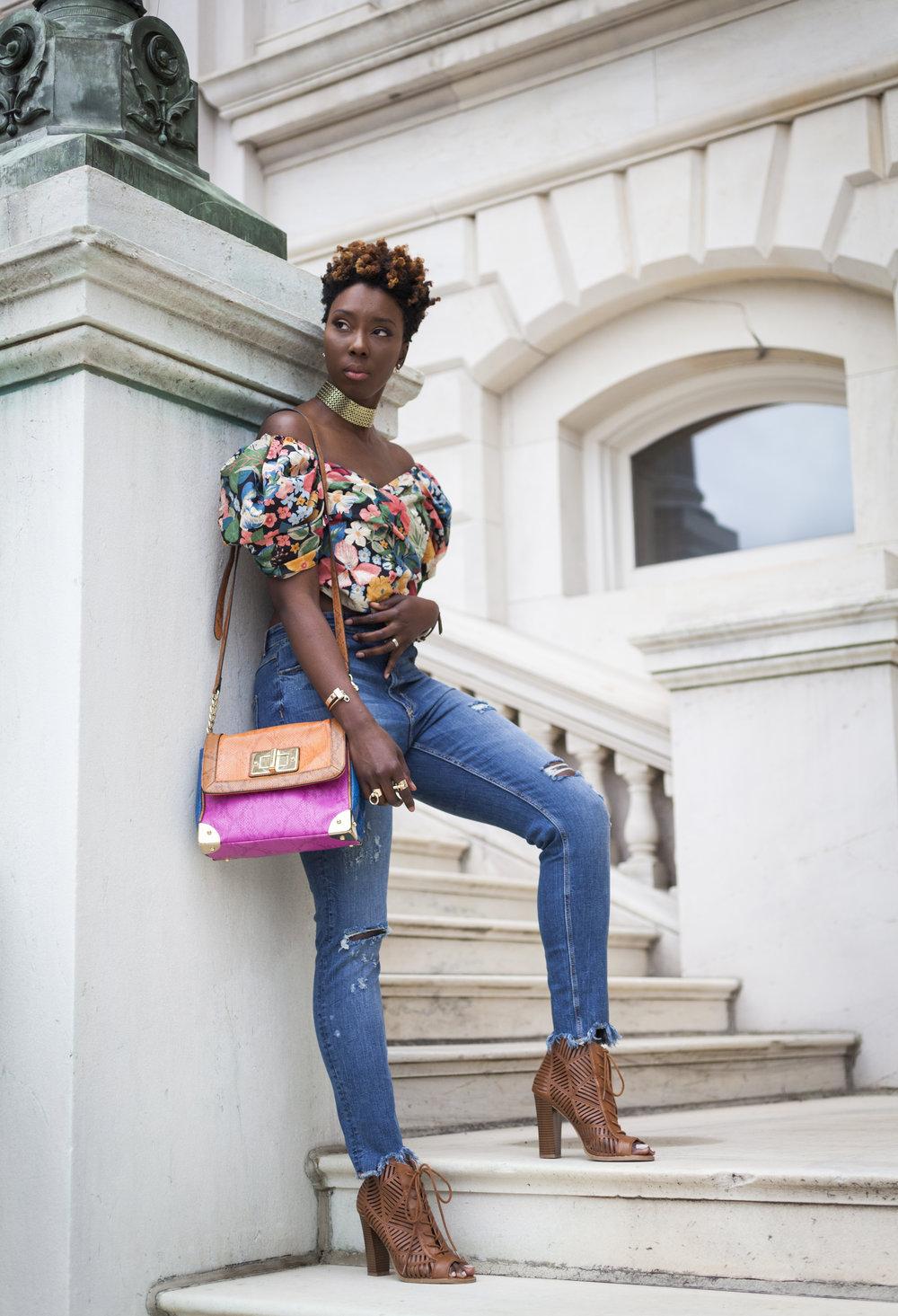 Zara-flora-off-the-shoulder-top-jeans-dsw-shoes2